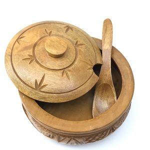 Vintage hand carved wooden tiki bowl w/ lid spoon